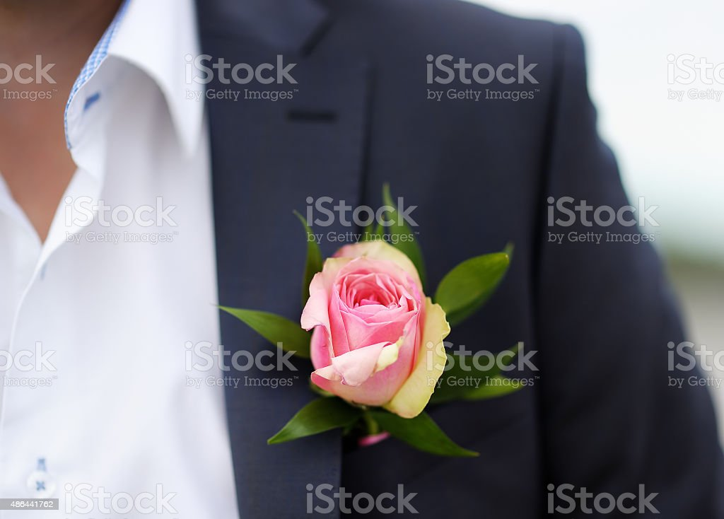 Boutonniere groom stock photo