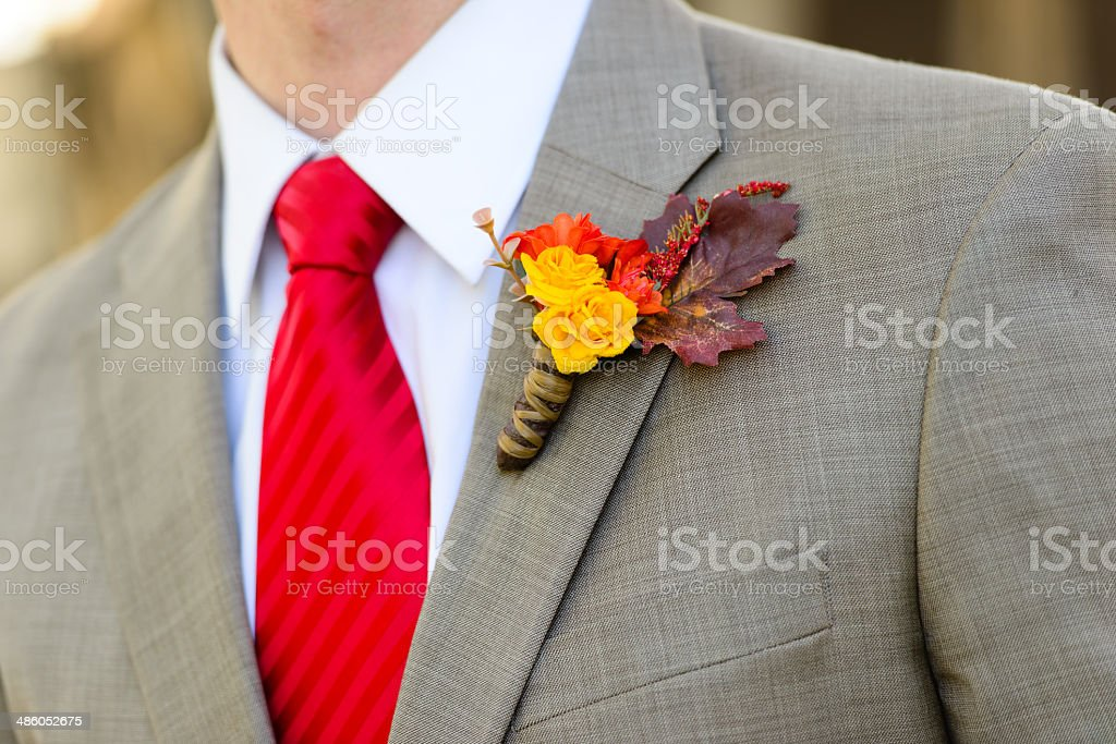 Boutonniere on a Suit stock photo