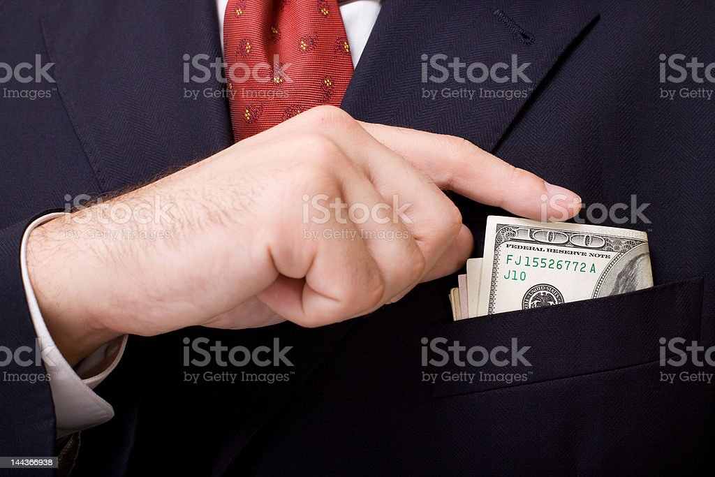 Boutonniere with money stock photo