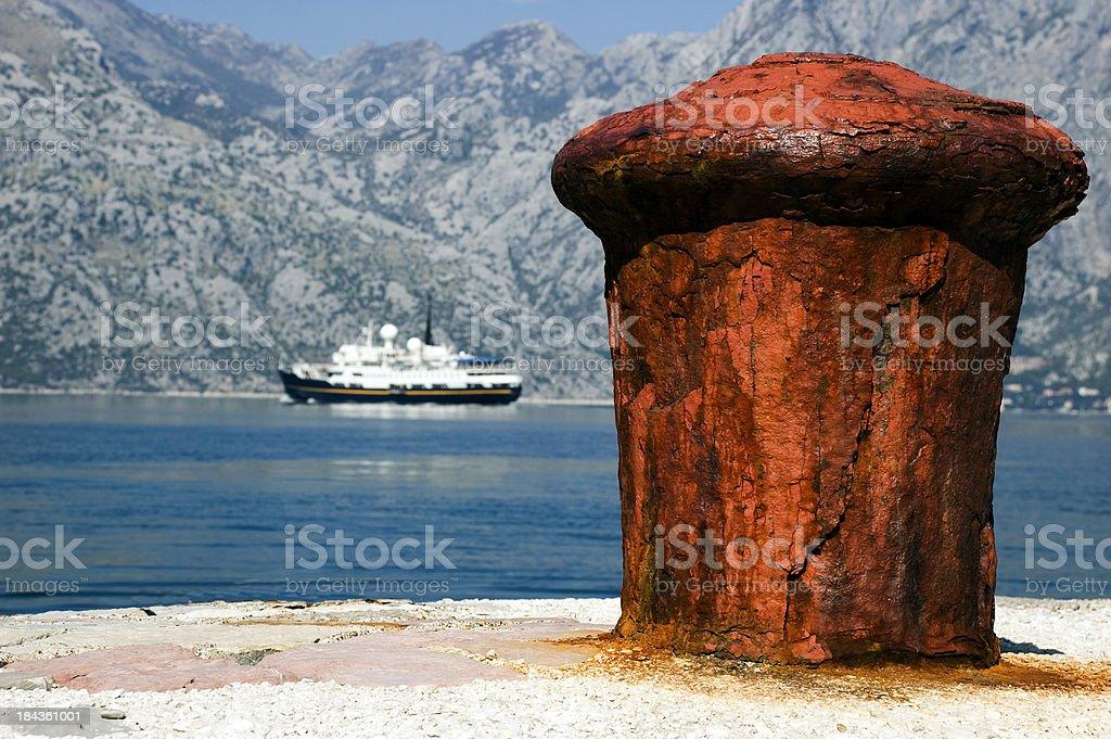 Bouy and Boat, Bay of Kotor, Montenegro stock photo