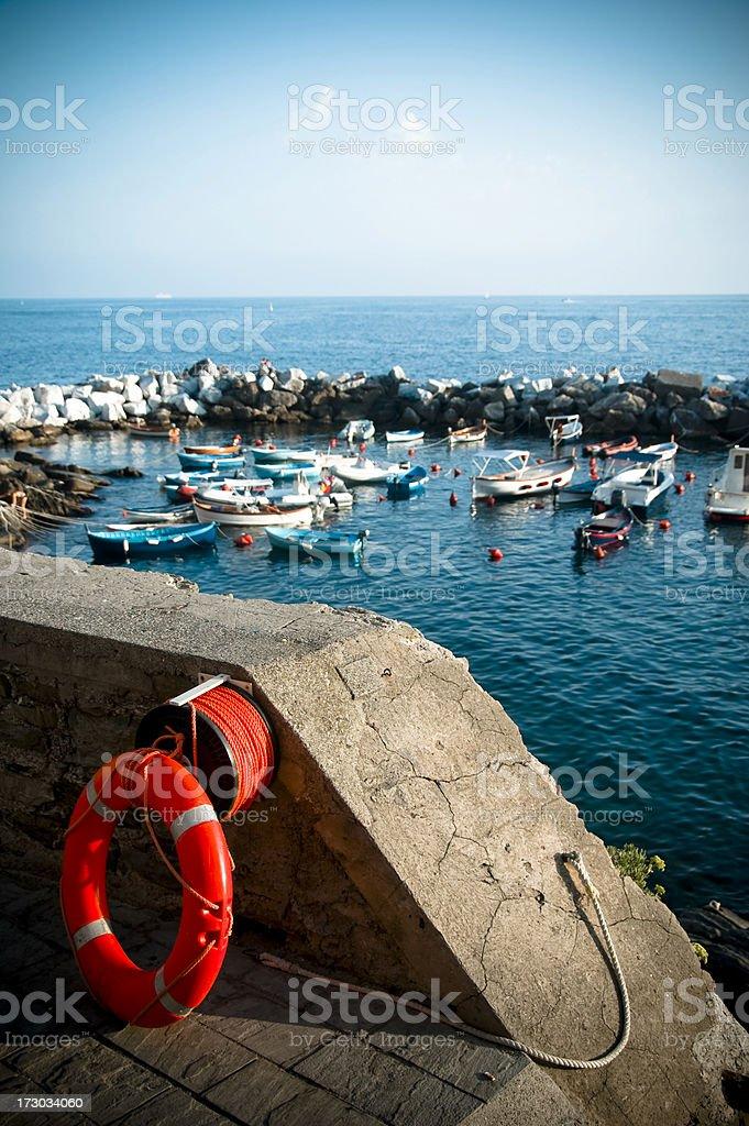 Bouy boats Italian harbour Cinque Terra Riomaggorie Italy. royalty-free stock photo