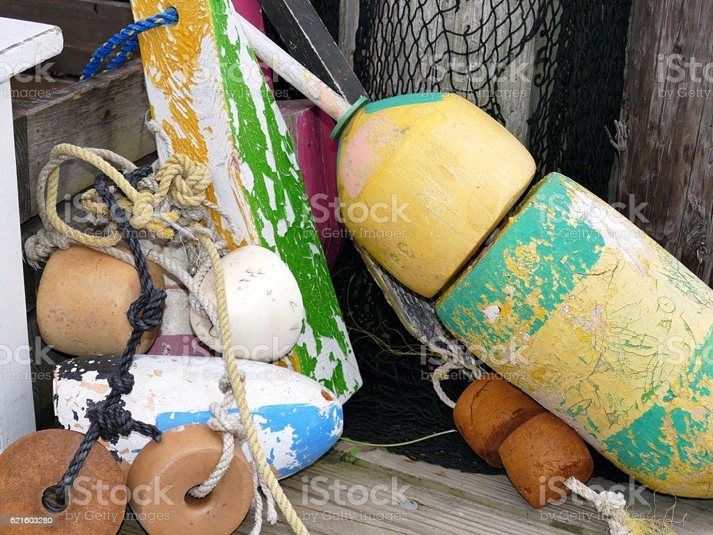 Bouys on Pier stock photo