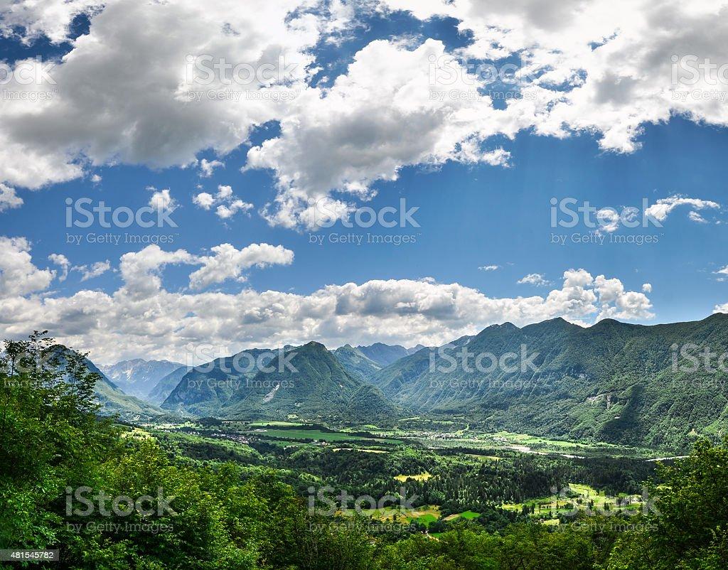 Bovec in Soca valley stock photo