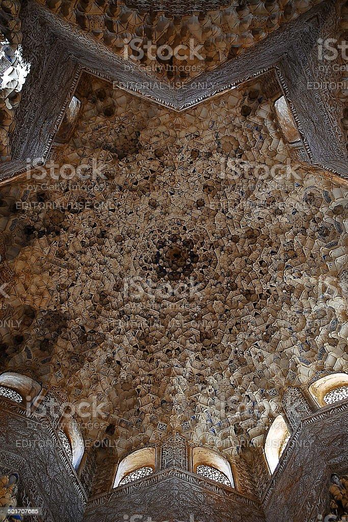 boveda estrellada de mocarabes en el patio de los leones stock photo