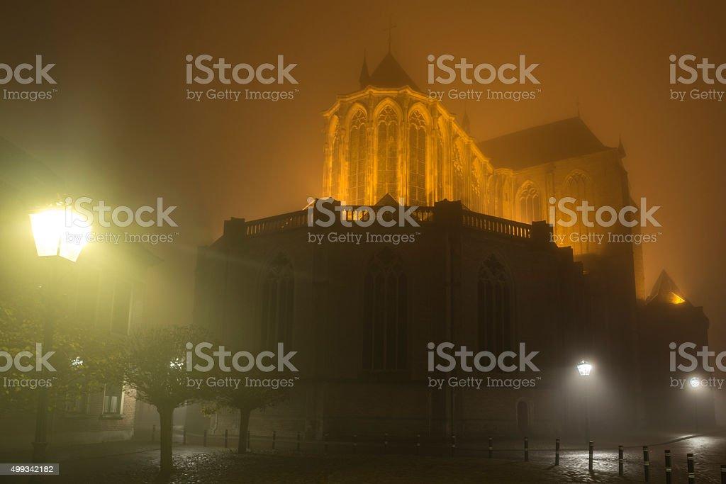 Bovenkerk church in the city of Kampen at night stock photo