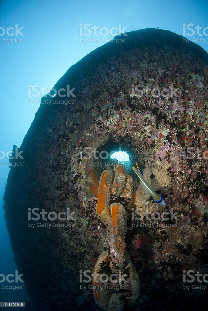Bow and anchor chain of the SS Thistlegorm shipwreck stock photo