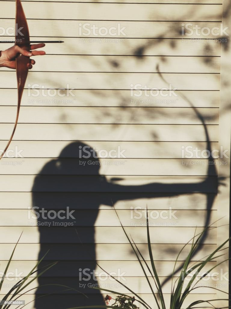 Bow and Arrow Archery Sport Practice Shooting Shadow stock photo