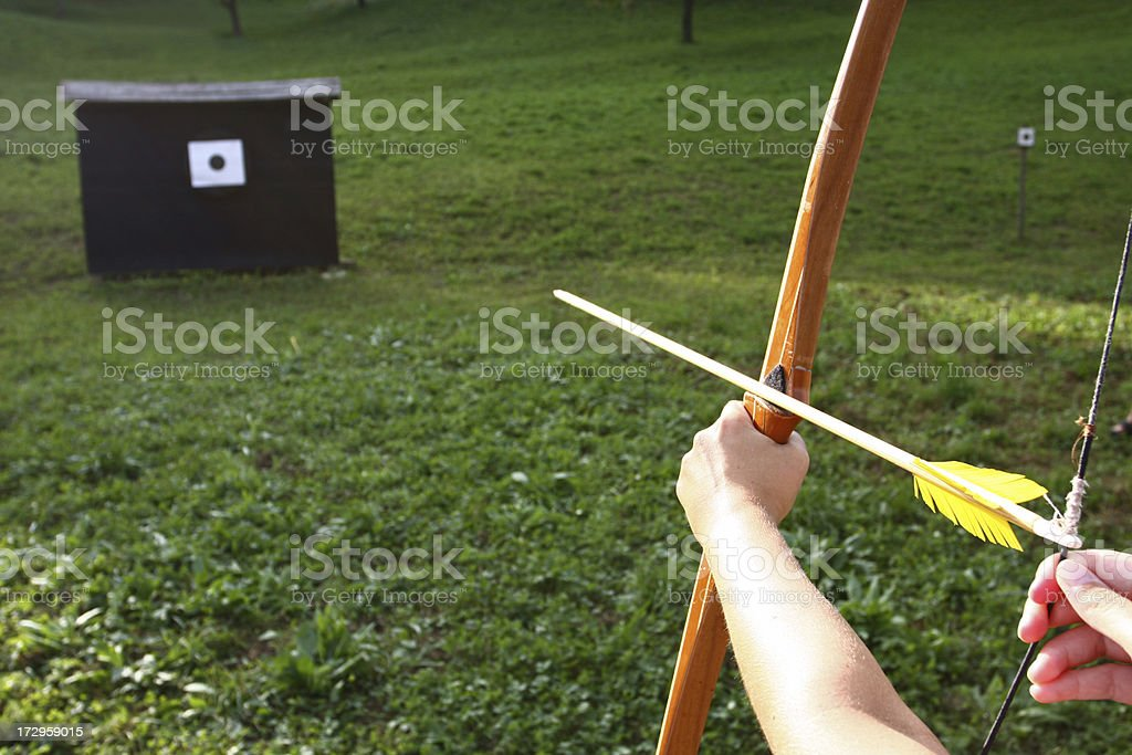 Bow and arrow -target shooting royalty-free stock photo