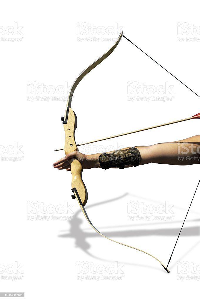 Bow and arrow with clipping path royalty-free stock photo