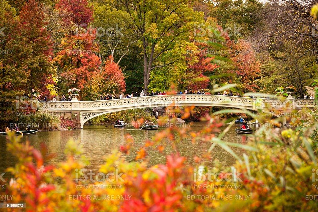Bow Bridge, Central Park in October stock photo