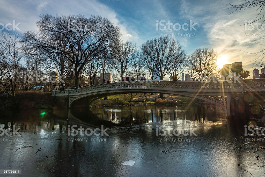 Bow Bridge, Central Park stock photo
