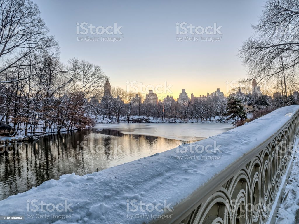 Bow bridge Central Park stock photo