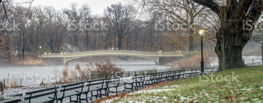 Bow bridge Central Park winter stock photo