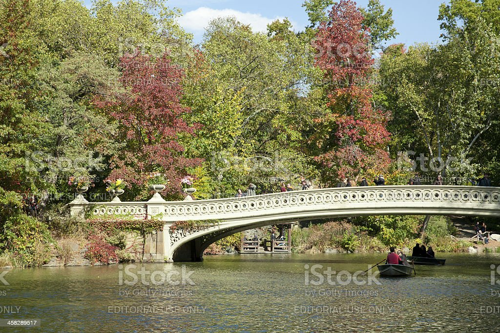 Bow bridge in Central park stock photo