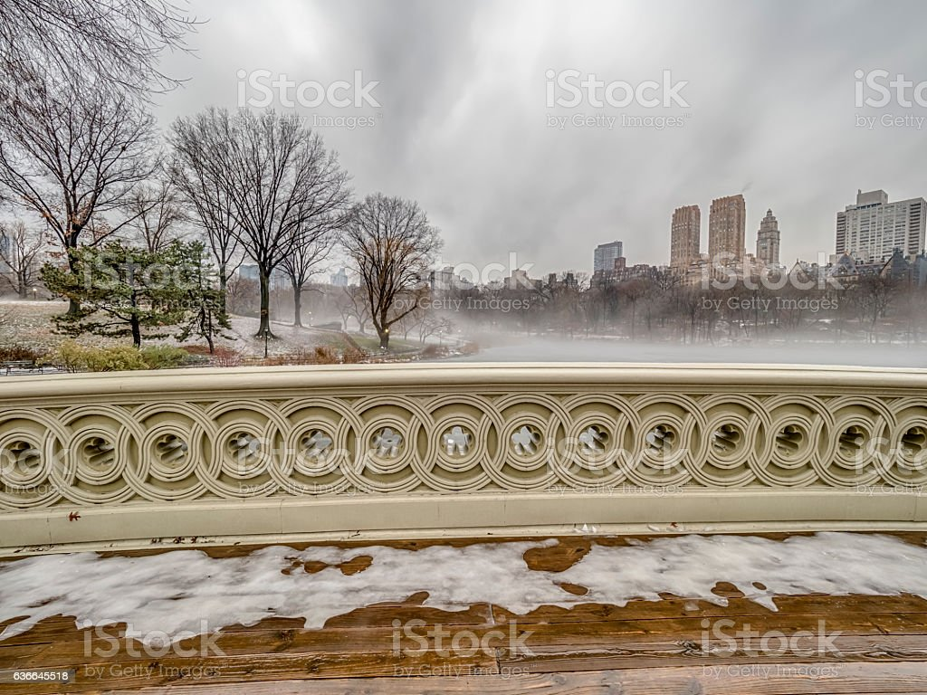 Bow bridge in winter stock photo