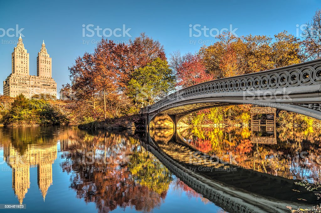 Bow bridge on blue sky day stock photo