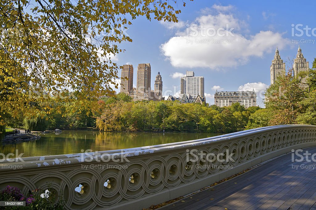 Bow Bridge scenic lake view, Central Park, New York City royalty-free stock photo