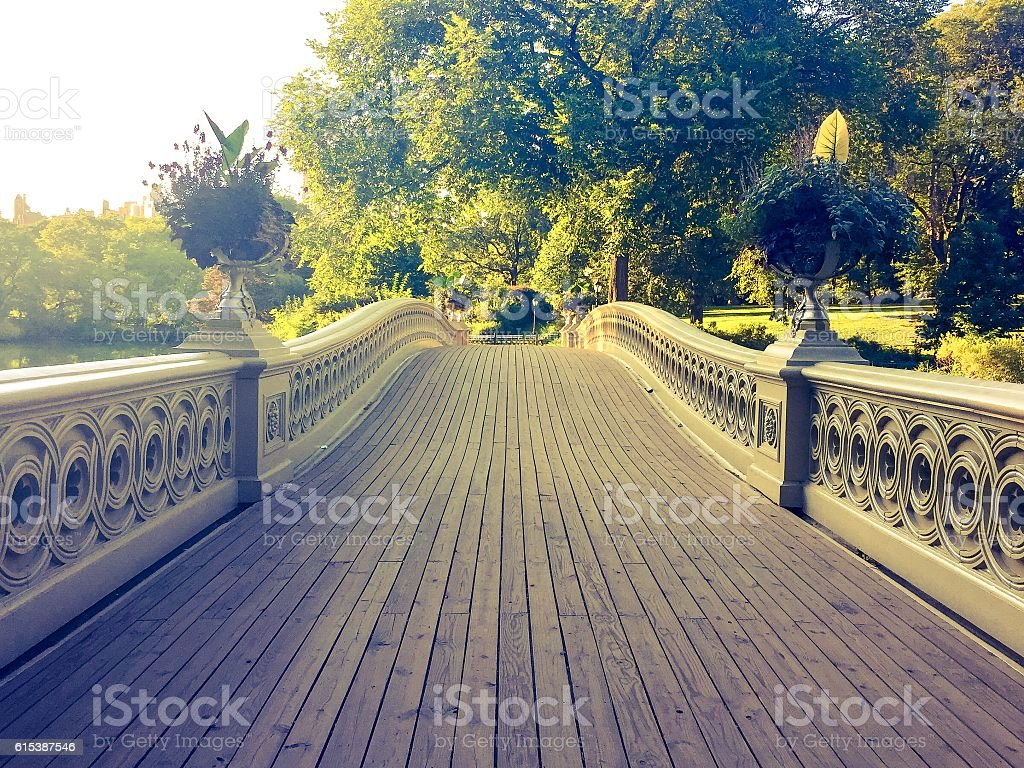 Bow bridge walk way in vintage style stock photo