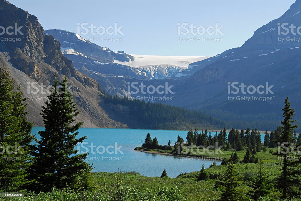 Bow Glacier and Bow Lake seen from Icefields Parkway,Canada stock photo