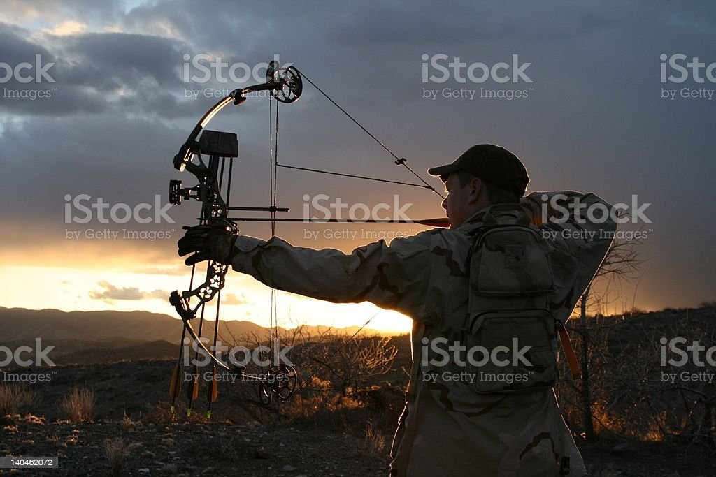 Bow hunter stock photo