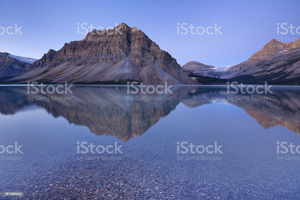 Bow Lake along the Icefields Parkway in Canada at dawn royalty-free stock photo