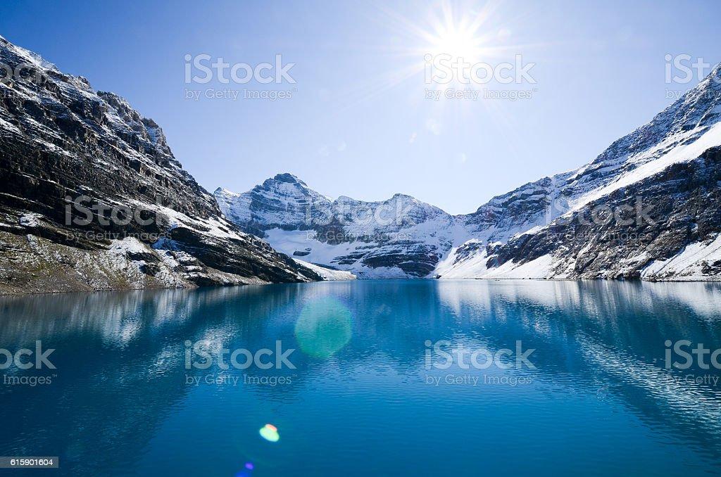 Bow Lake, Banff National Park, Canadian Rockies stock photo