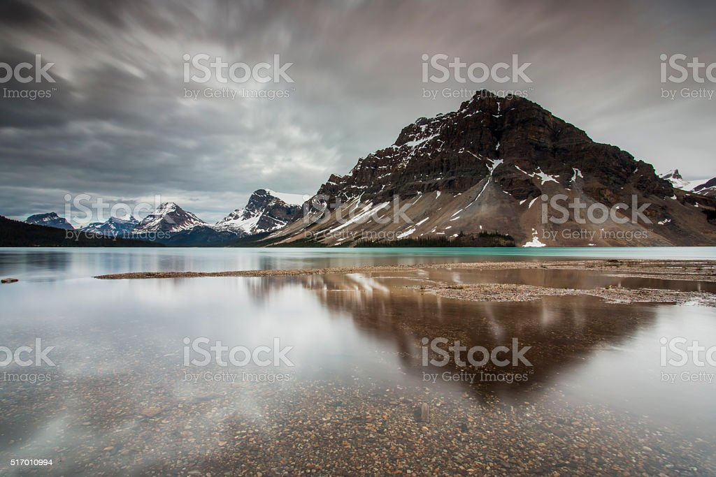 Bow Lake reflections of the sky stock photo