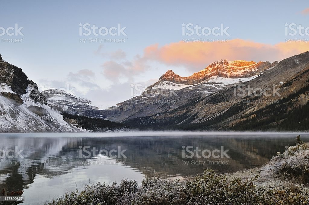 Bow Lake sunrise, Banff National Park stock photo