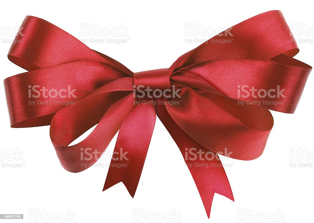 Bow, made of red silk ribbon stock photo