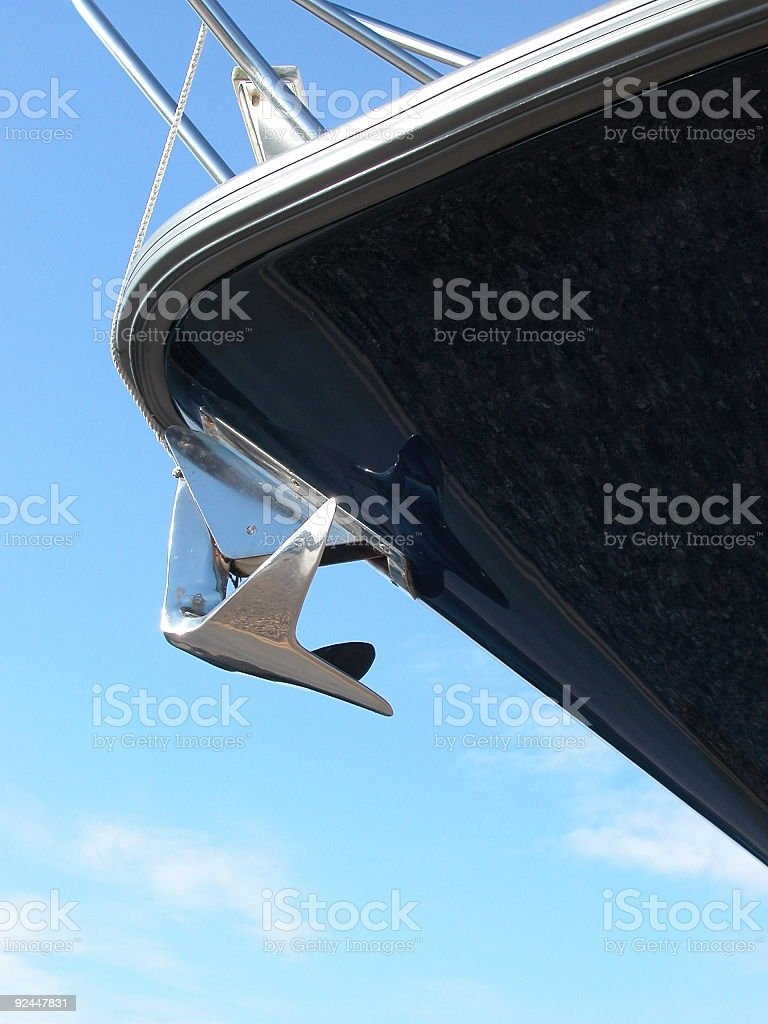 Bow of a brand new boat royalty-free stock photo