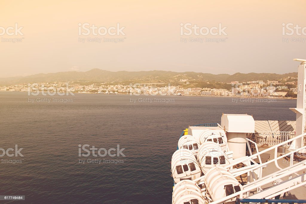 bow of a ferry approaching to Sicily stock photo