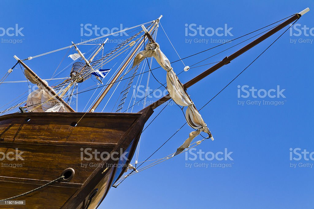 Bow Of A Sailing Ship From Below stock photo