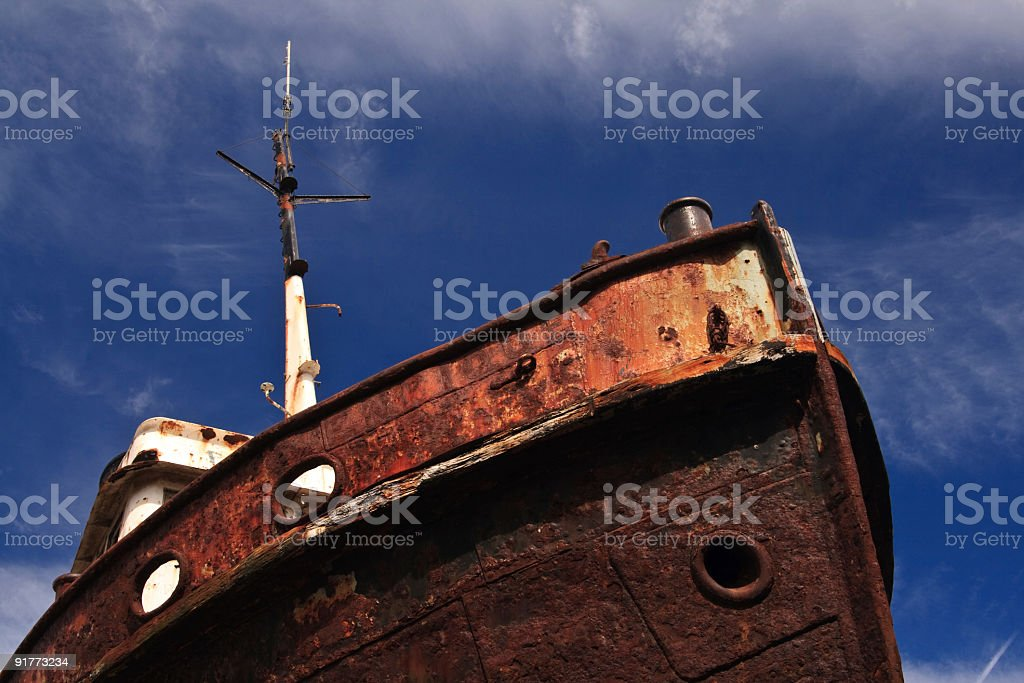 Bow of an Abandoned Ship royalty-free stock photo