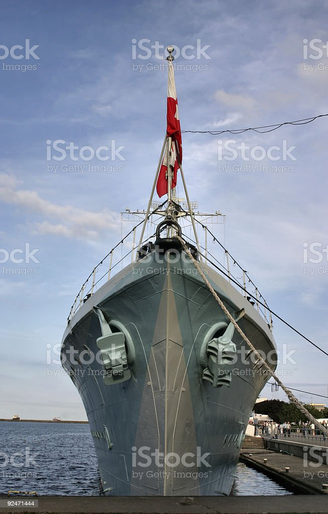 bow of an old battle ship royalty-free stock photo