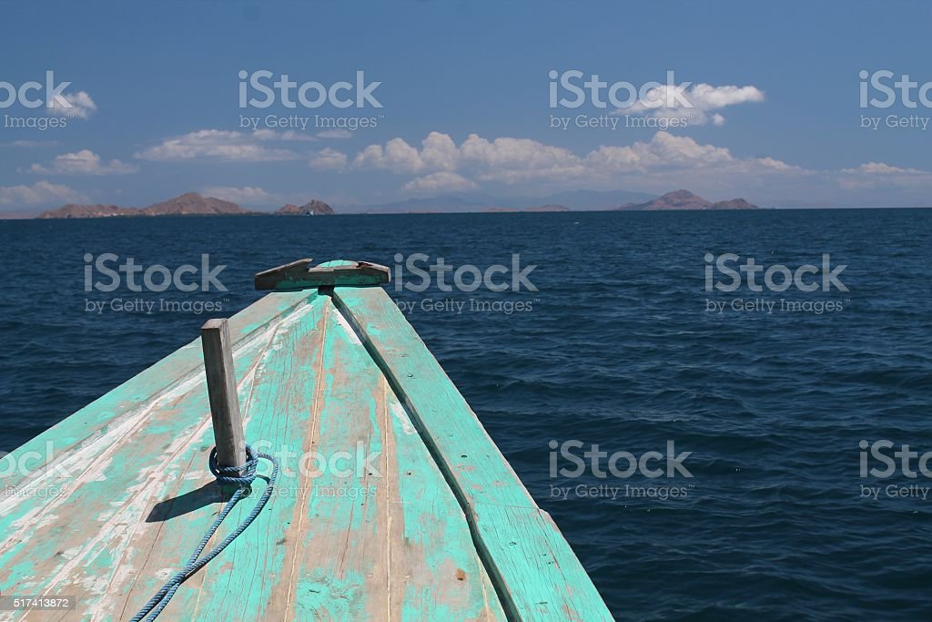 Bow of boat in the Java Sea stock photo