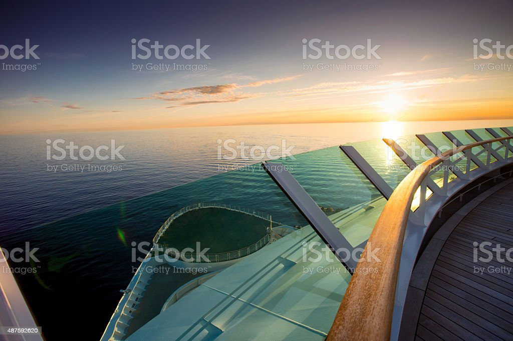 Bow of Cruise Ship at Sunset stock photo