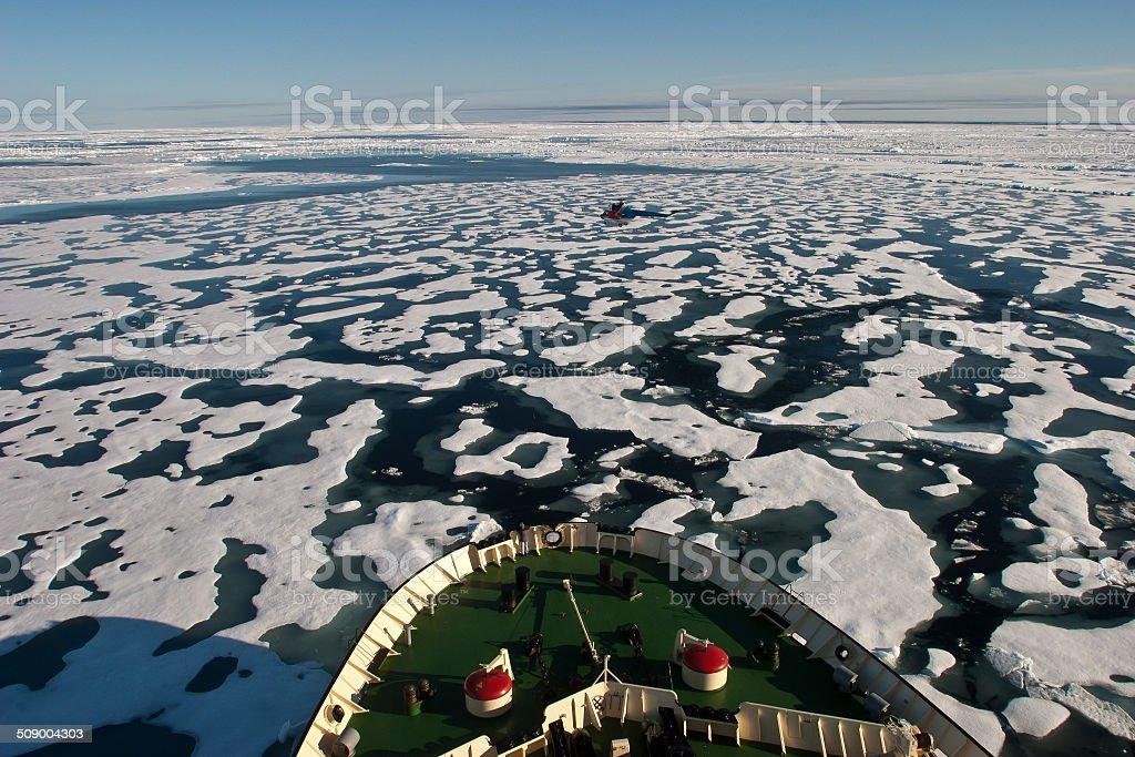 Bow of Ice breaker heading in NE Passage stock photo