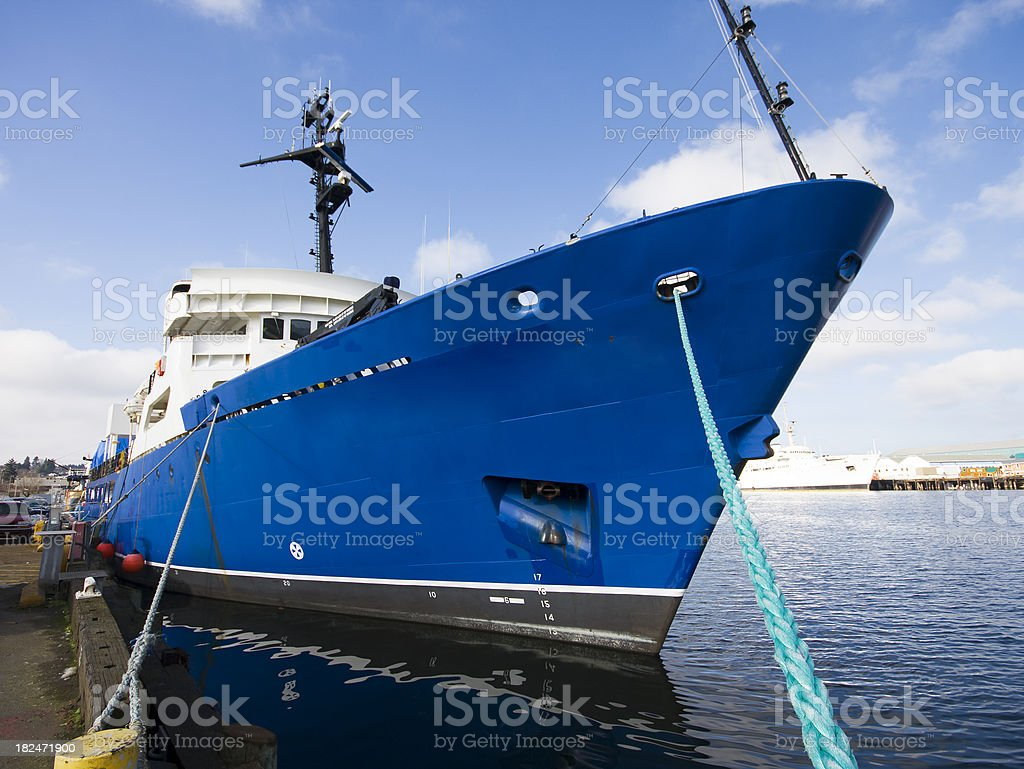 Bow of Large Commercial Ship royalty-free stock photo