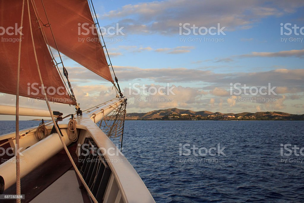 Bow of Ship off St Croix stock photo
