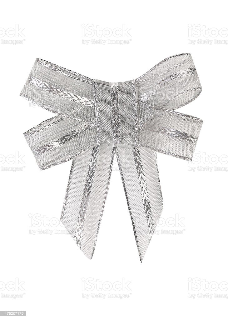 Bow of silver ribbon royalty-free stock photo