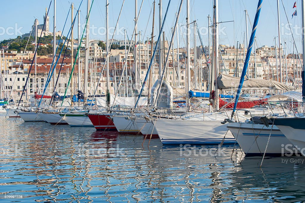 Bow of the boats in the port of Marseilles. stock photo
