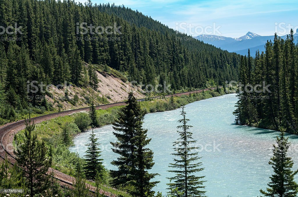 Bow River and CPR Rail line stock photo