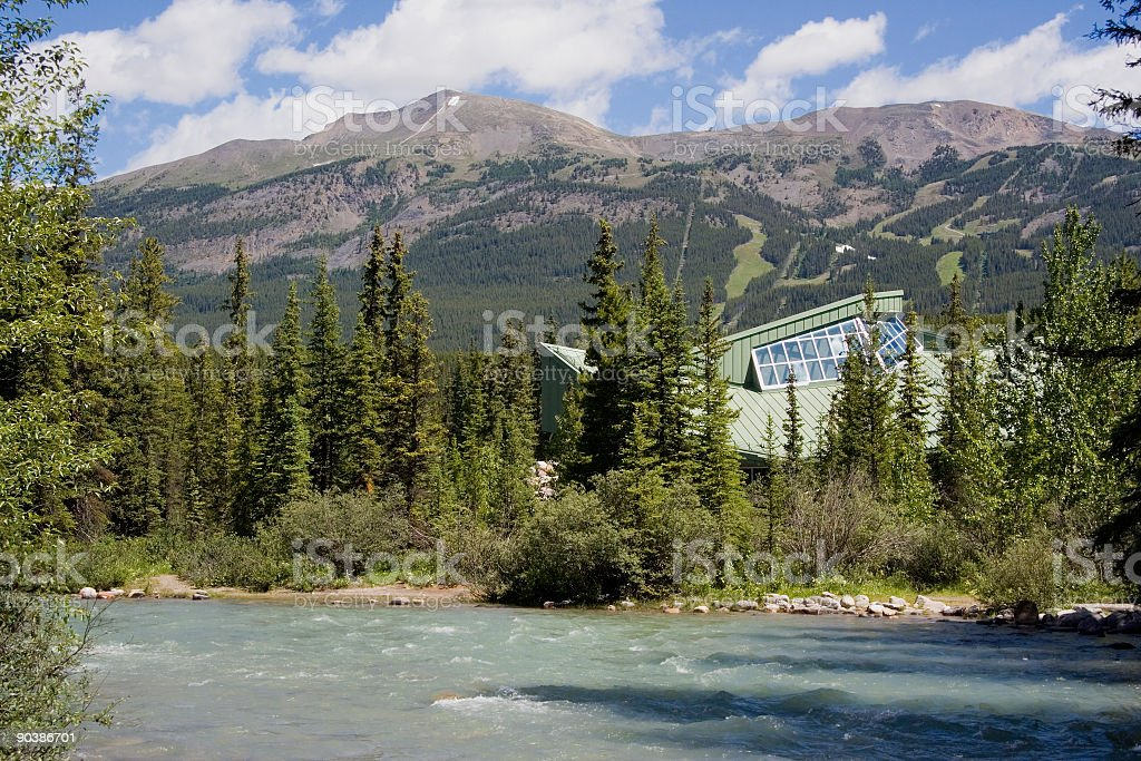 bow river and modern architecture royalty-free stock photo