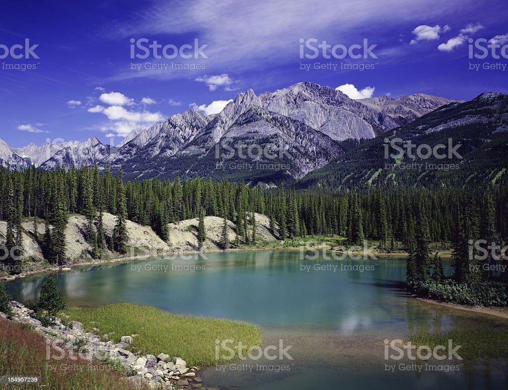 Bow River Canadian Rockies In Banff NP royalty-free stock photo