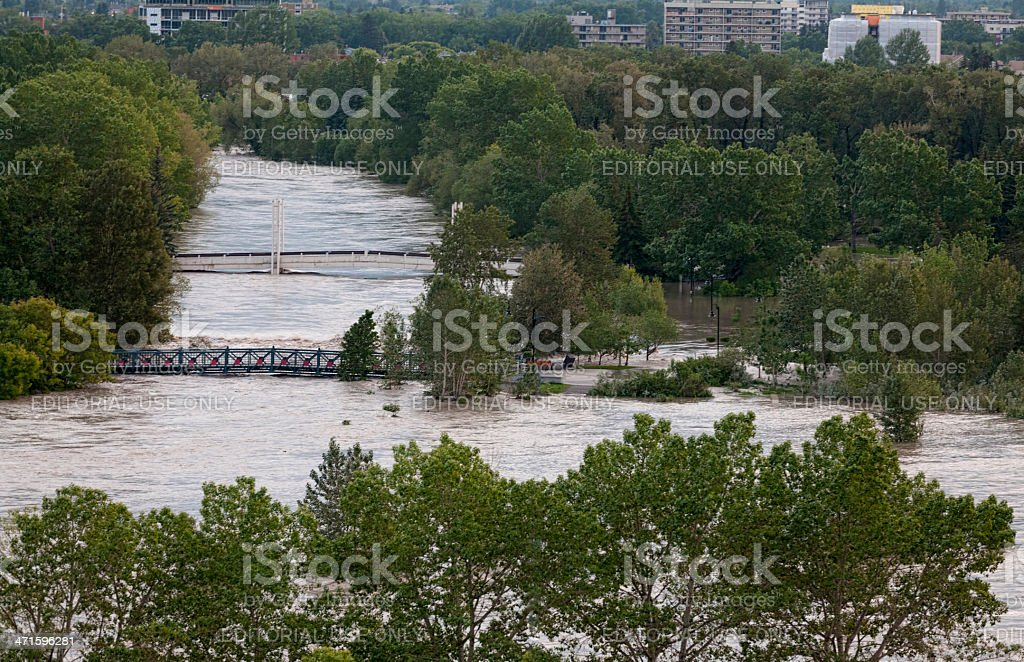 Bow River flooding Prince's Island Park in Calgary royalty-free stock photo