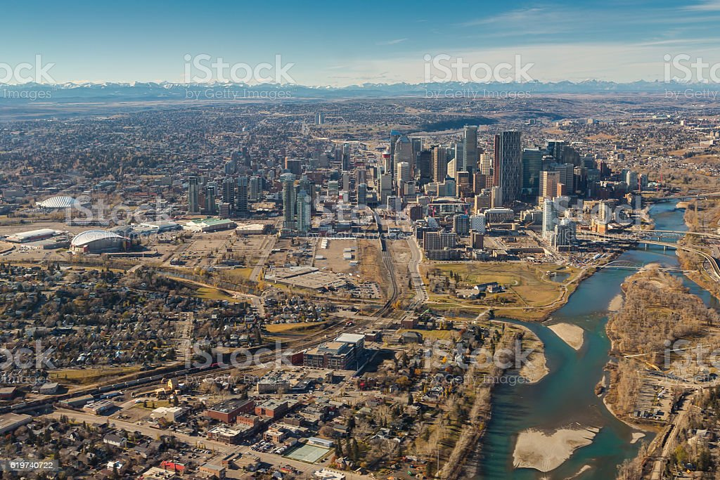 Bow River flowing through Calgary stock photo