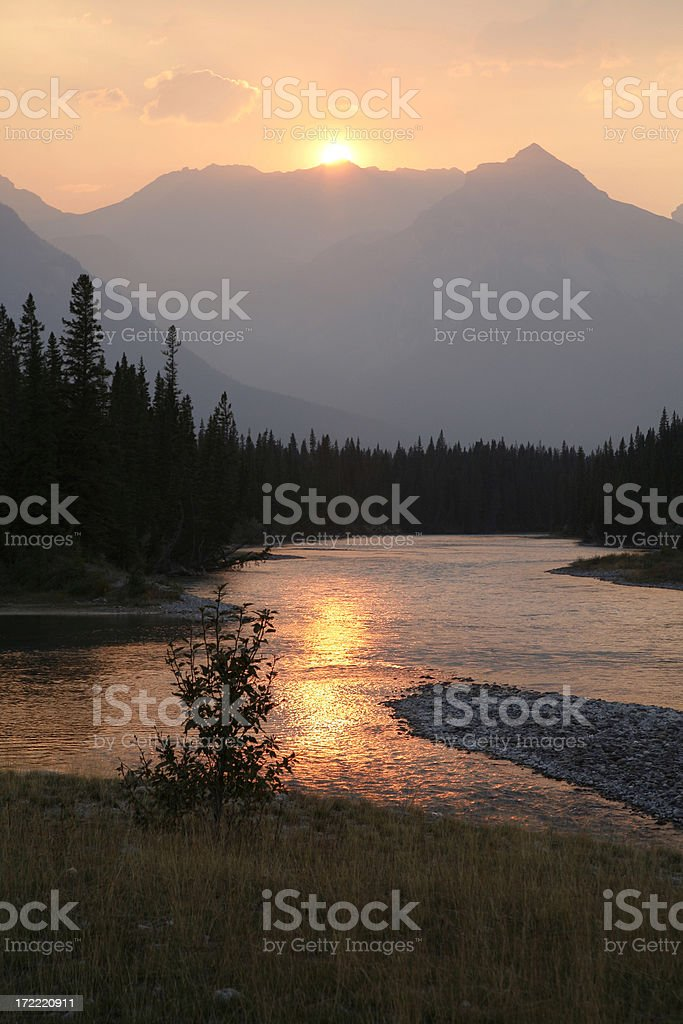 Bow River Landscape In The Canadian Rockies. royalty-free stock photo