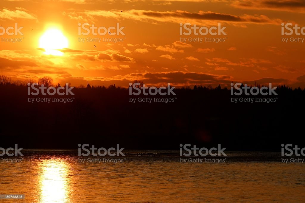 Bow River sunset stock photo