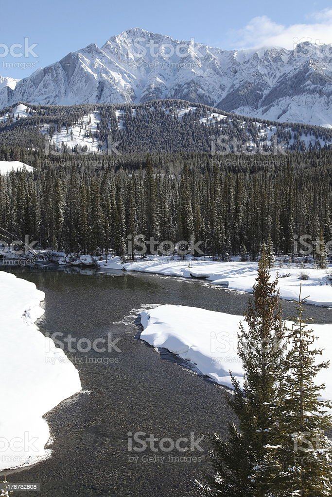 Bow River valley in springtime, Banff National Park, Alberta, Canada stock photo