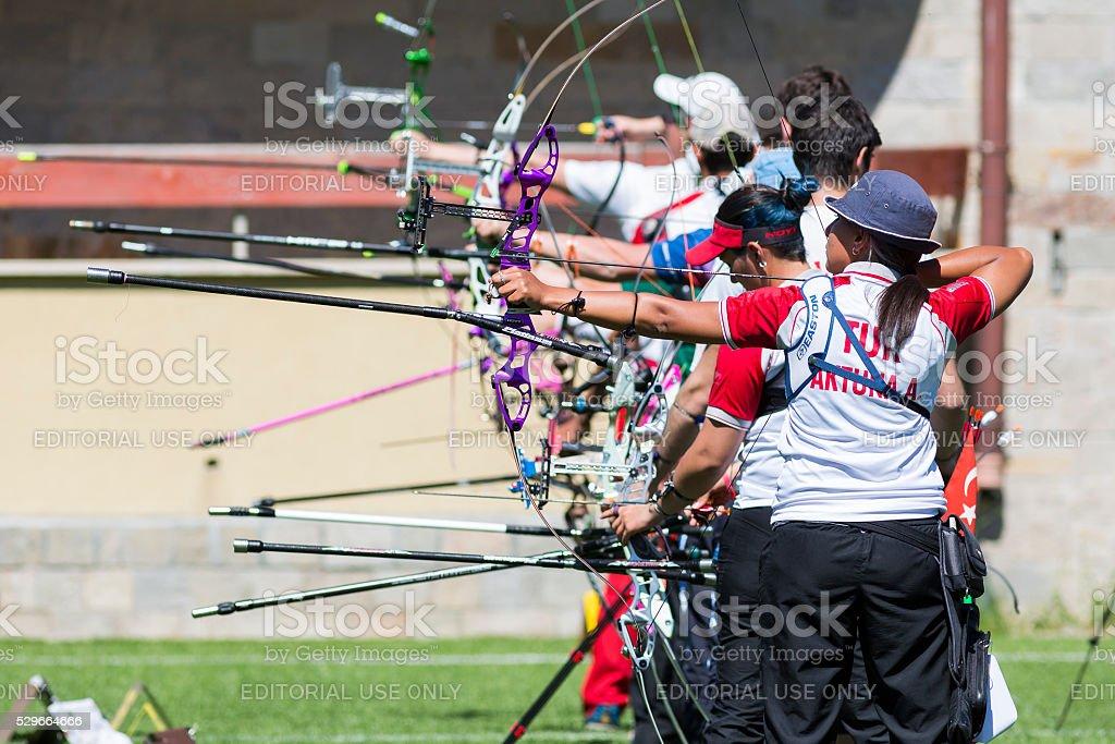Bow shooting stock photo